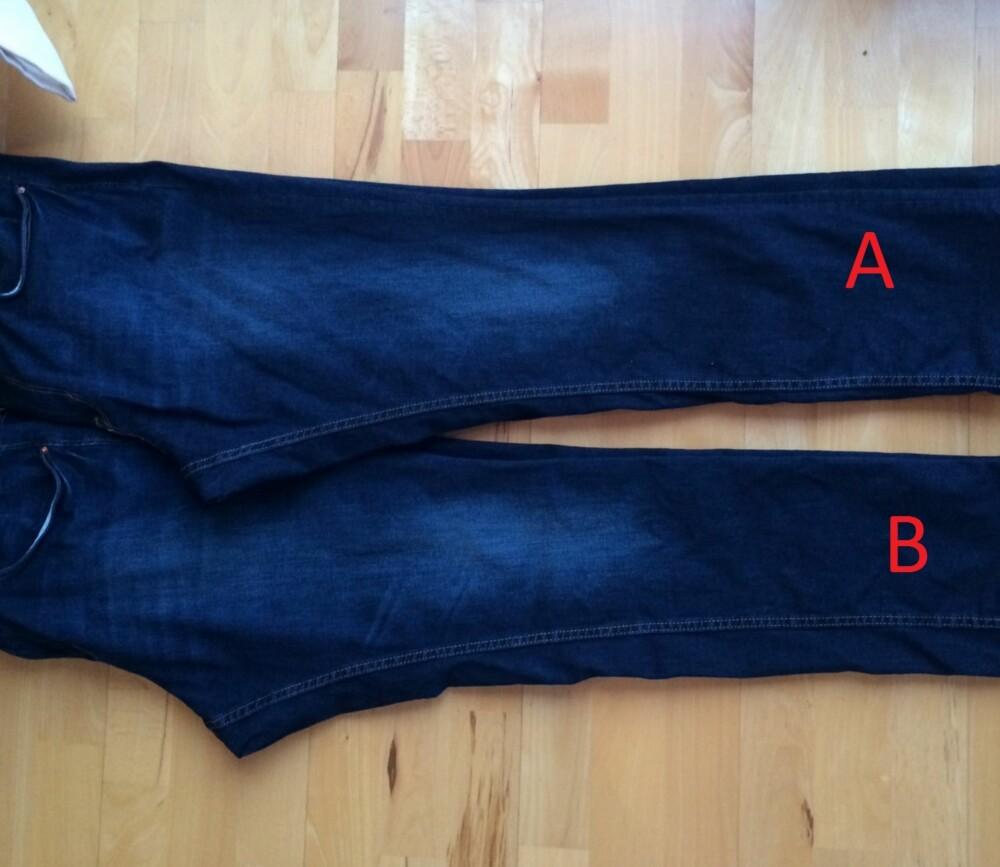 INTENSITET: Selv om blåfargen i en jeans aldri egentlig blir lysere, så mister den intenisiteten sin og virker derfor blass. Jeans A som ble lagt i saltbad har sterkere intensitet enn jeans B som ble vasket normalt - og det etter kun én vask!