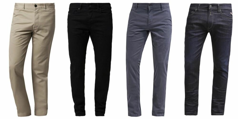 BUKSER: Filippa K Samuel Chinos Beige, kr 999. Diesel Buster Slim Fit Jeans Black, kr 999. Boss SCHINO Chinos medium blue, kr 1045. Replay Hyperflex Jondrill Slim Fit Jeans, kr 1495.