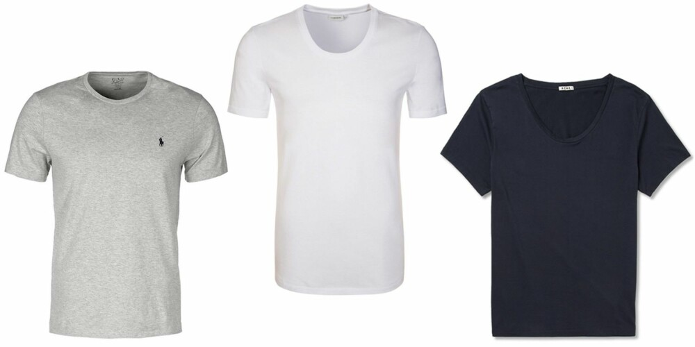 T-SKJORTER: Polo Ralph Lauren Custom Fit Jersey T-shirts, kr 429. J Lindeberg Axtell T Shirt hvit, kr 379. Acne Studious Limit Cotton T-shirt, kr 595.