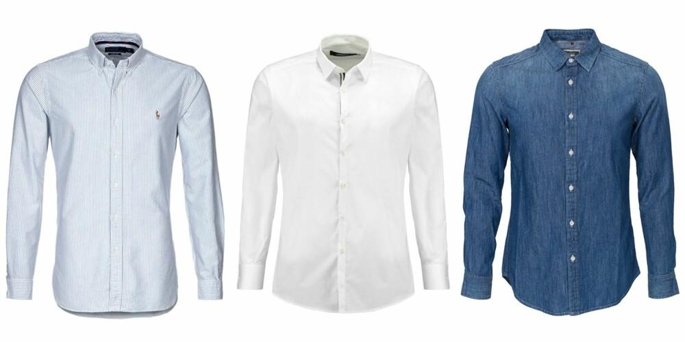 Polo Ralph Lauren Oxford-skjorte, kr 899. Lagerfeld Slim Fit Finskjorte, kr 949. G-Star Landoh Clean Shirt L-S It Wt Frust Denim, kr 899.