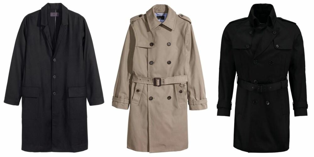 FRAKK: Tynn frakk fra H&M, kr 999. Trenchcoat fra H&M, kr 999. Lagerfeld Trenchcoat Schwarz, kr 3695.