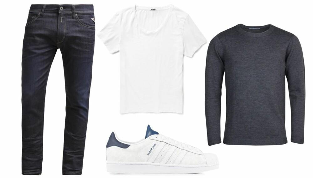 BASISGARDEROBE FOR MENN: Jeans, gode T-skjorter, tynn ullgenser og sneakers er må-ha i herregarderober, men hva mer..?