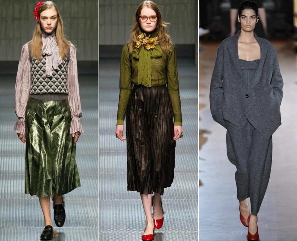 PÅ CATWALKEN: Gucci viste frem både knytebluser og maxiskjørt, mens Stella McCartney gikk for buksedresser.