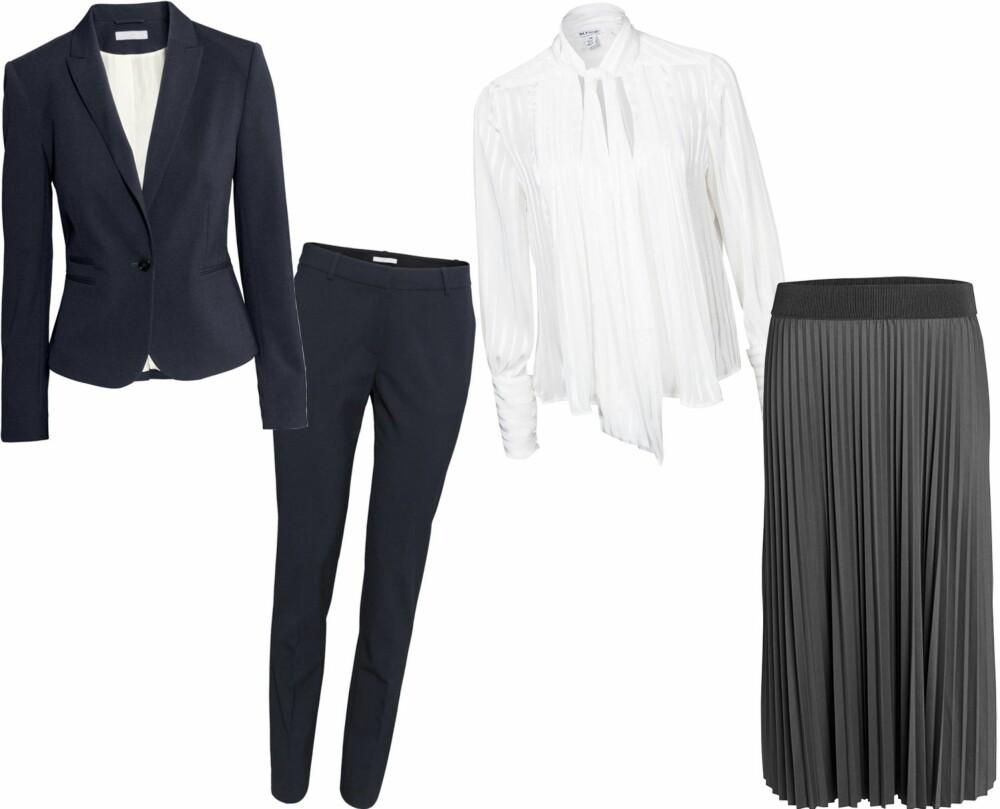 BILLIGE ALTERNATIVER (f.v.): Buksedress fra H&M, kr 299 for blazer og kr 199 for bukse. Bluse med knyting i halsen fra NLY Design, kr 499. Maxiskjørt fra Lindex, kr 349.