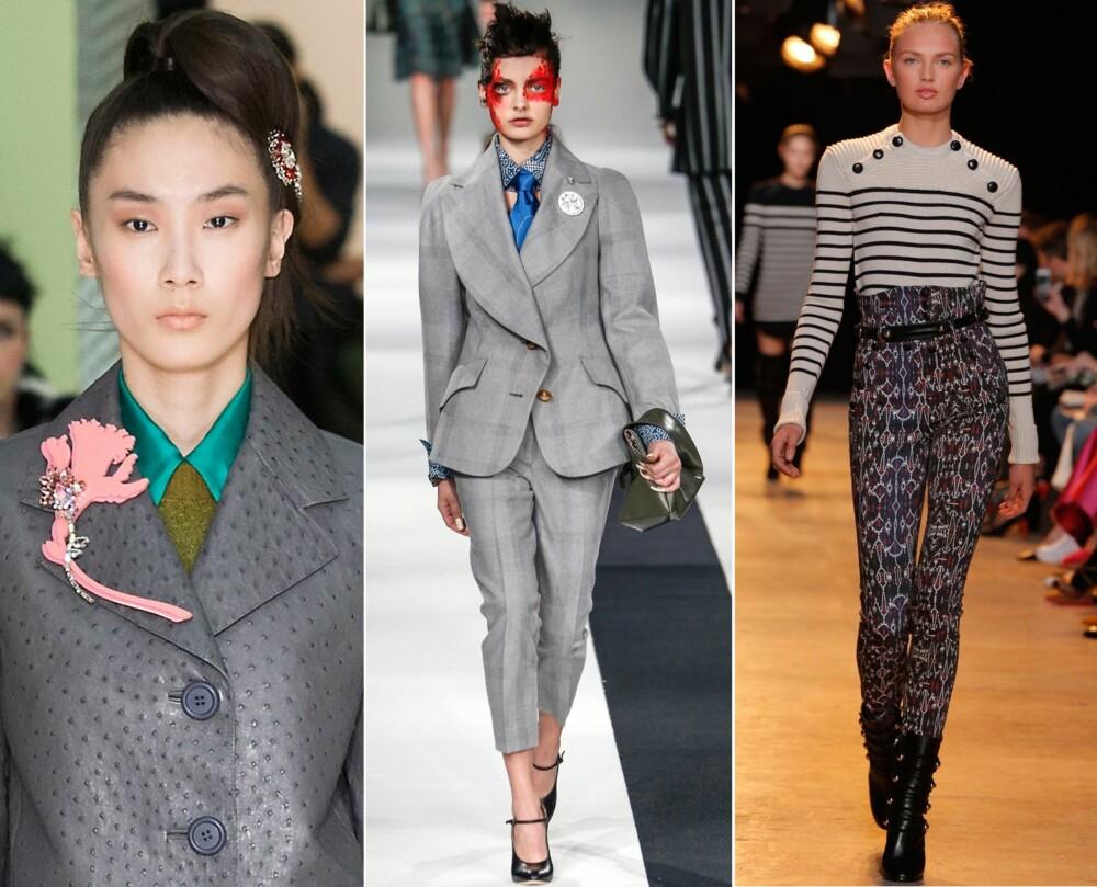 PÅ CATWALKEN: Prada hadde kledd opp modellene med bling i både håret og på jakkeslaget. Vivienne Westwood sendte modellene nedover catwalken kledd i grått. Isabel Marant viste frem bukser med høyt liv.