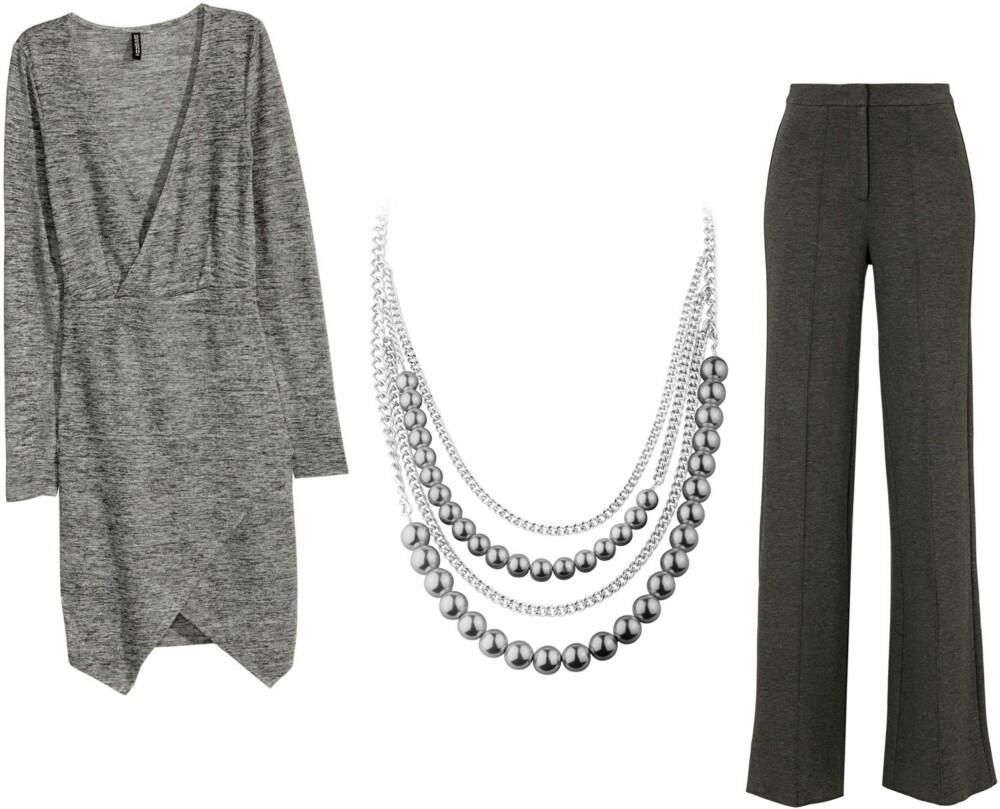 BILLIGERE ALTERNATIVER (f.v.): Grå kjole fra H&M, kr 149. Smykke fra Dyrberg/Kern, kr 819. Bukse med høyt liv fra Gina Tricot, kr 499.