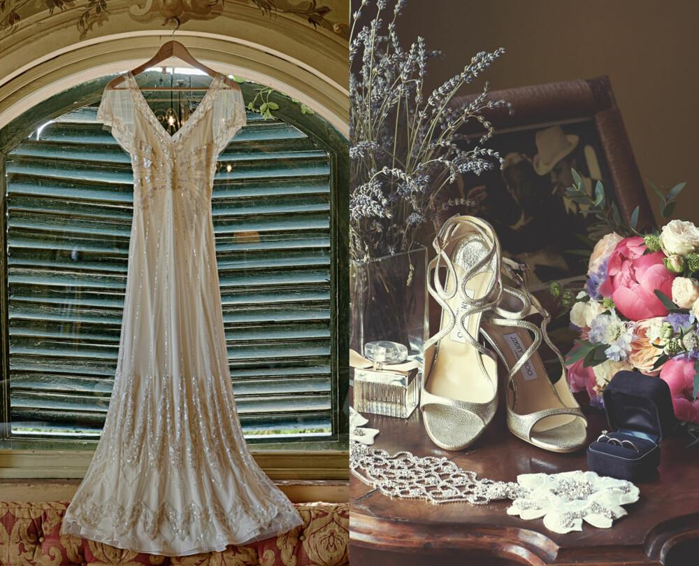 DETALJER: Den vakre kjolen fra Jenny Peckham. Brudens tilbehør, blant annet sko fra Jimmy Choo.
