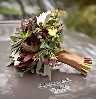BRUDEBUKETTEN: Den ble laget av Blomst i Sandnes, inspirasjonen fant bruden på Pinterest.
