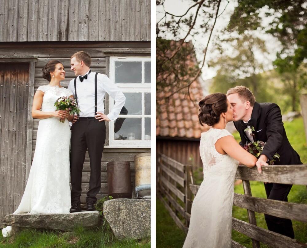 RUSTIKK STIL: Bildene ble tatt på Limagarden på Ålgård. Brudeparet ønsket en rustikk stil på bildene, og hadde sett seg ut stedet på forhånd.