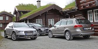 POPULÆRE: Vi har testet Audi A4 Allroad, Skoda Superb 4Drive og VW Passat Alltrack mot hverandre. FOTO: Petter Handeland