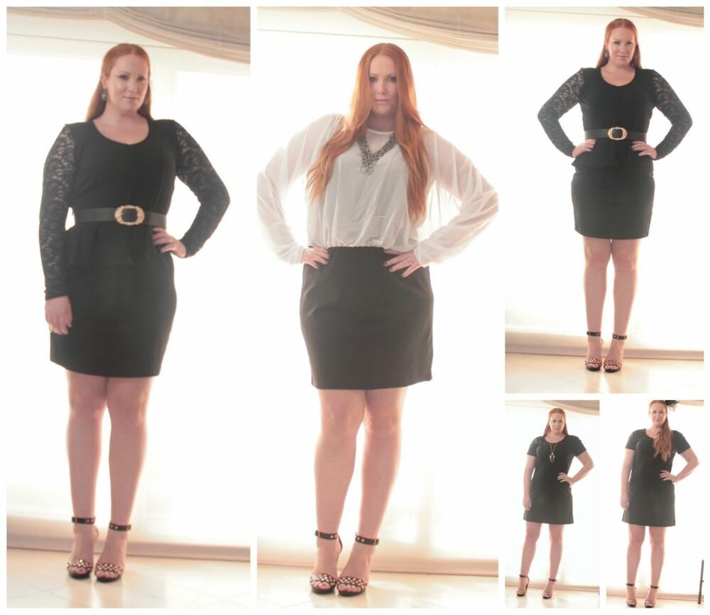 KLASSIKERNE: Den lille sorte kjolen er den perfekte julebordkjolen, og sammen med hvitt blir den enda mer klassisk. Style den gjerne opp med smykker, i både gull og farger. I år har vi lov til å bade oss i overdådige øredobber og ekstravagante statementsmykker - så utnytt sjansen og kos deg med trendene. Peplumkjole fra Zizii str. M (kr 799), Hvit og sort kjole fra Zizzi str. L (kr 699), Helsort kjole fra Zizzi str. M (kr 699).