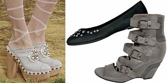VÅRSKO: Tresko på catwalken hos Chanel, ballerinasko fra Din Sko (kr 299), sandaler med platåsåle fra Bianco (kr 1200).