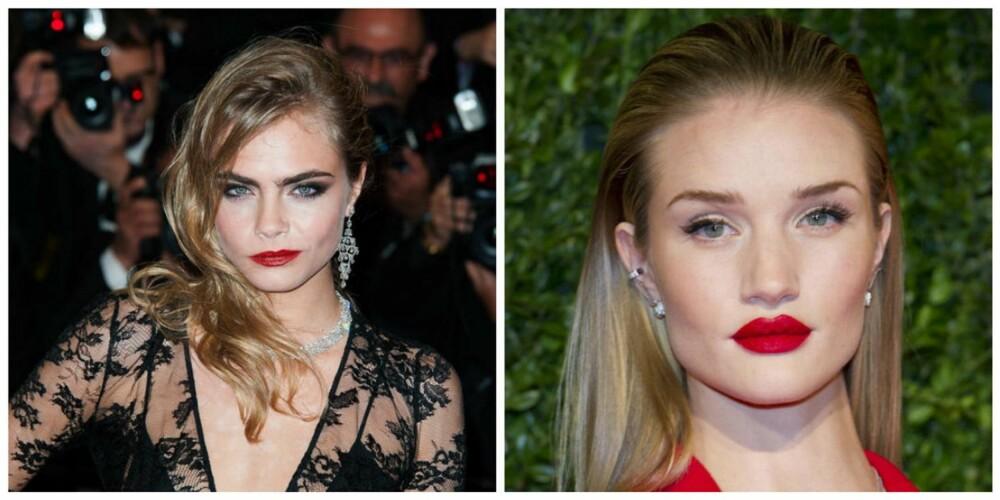 MODELLHÅR: Victoria Secrets-modellene har lenge gått for ombre, og har vært med på å gjøre stilen sexy. Her representert ved Cara Delevingne (t.v) og Rosie Huntington-Whiteley.