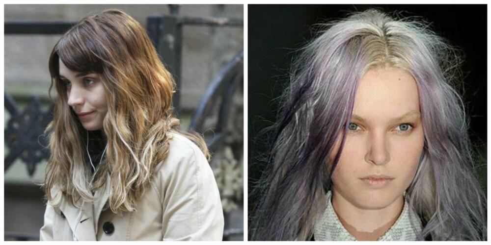 MISLYKKET: Rooney Mara (t.v) ser vanligvis fantastisk ut, men denne ombren kler ikke hudfargen hennes, og dessuten er den rusten i fargen. Den lilla ombren til høyre er også lite flatterende og rotete i sin fremtoning.