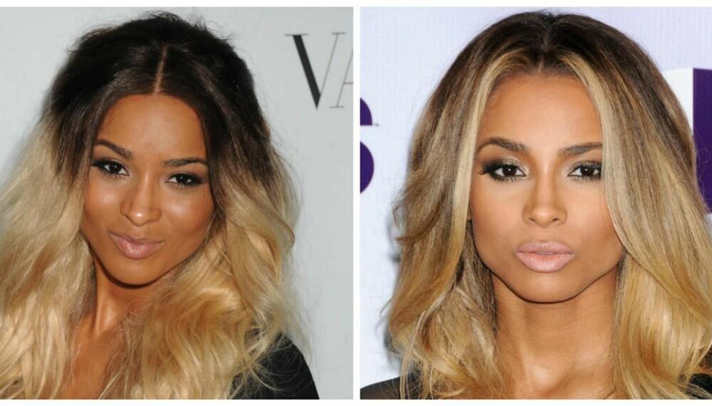 NEI OG JA: Ciara har prøvd seg på ombre flere ganger. Stilen til venstre fungerer ikke fordi tuppene blir for lyse. Til høyre ser ombren mer harmonisk ut. Få flere tips til den perfekte obre-frisyren under. Ja, for du kan faktisk få den til helt selv.
