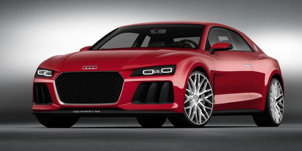 MED LASERLYS: Dette nye Audi Sport Quattro-konseptet vises med laserlys på CES-messen i Las Vegas. FOTO: Audi