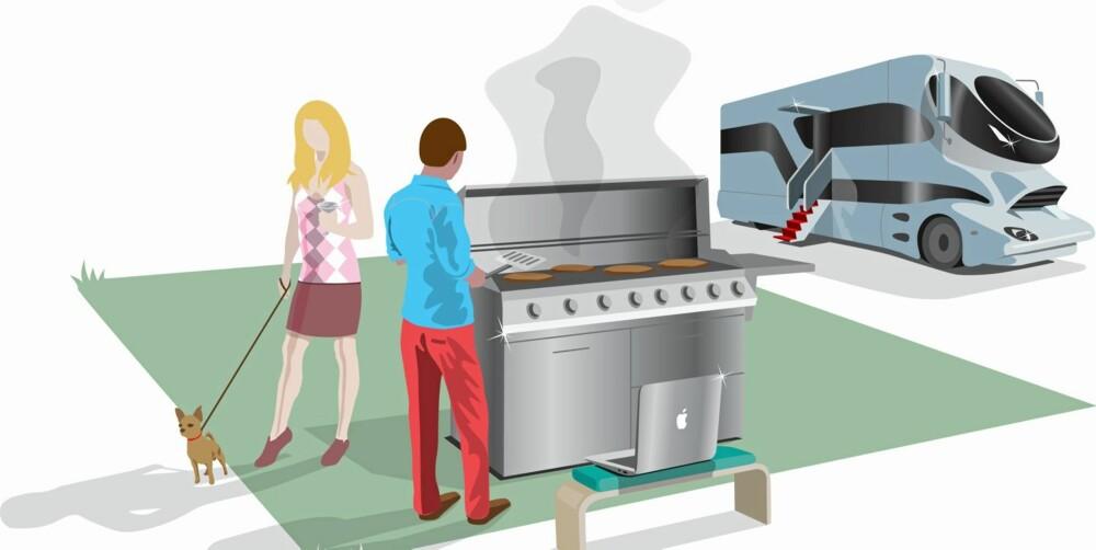MER KRESNE: Glamping handler ofte om en mer glamourøs form for campingferie. Illustrasjon: Filet.no