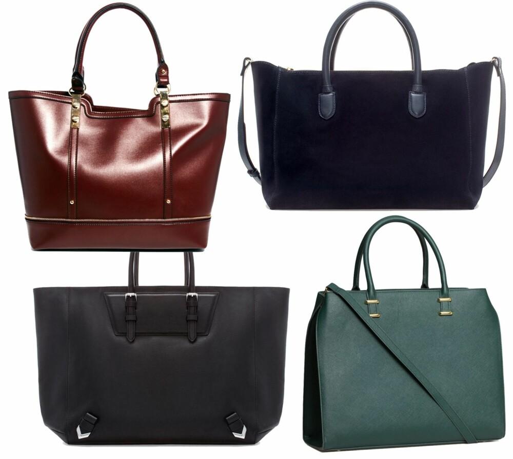 RIMELIGERE VARIANTER: I år skal du gå for de enkle veskene. Øverst fra venstre: Asos.com, kr 249. Mørkeblå fra Zara, kr 959. Svart fra Zara, kr 1199. Flaskegrønn fra H&M, kr 399.