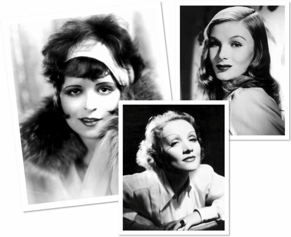 BRYN GJENNOM TIDENE: Til venstre: Clara Bow (1920-årene). I midten: Marlene Dietrich (1930-årene). Til høyre: Veronica Lake (1940-årene).