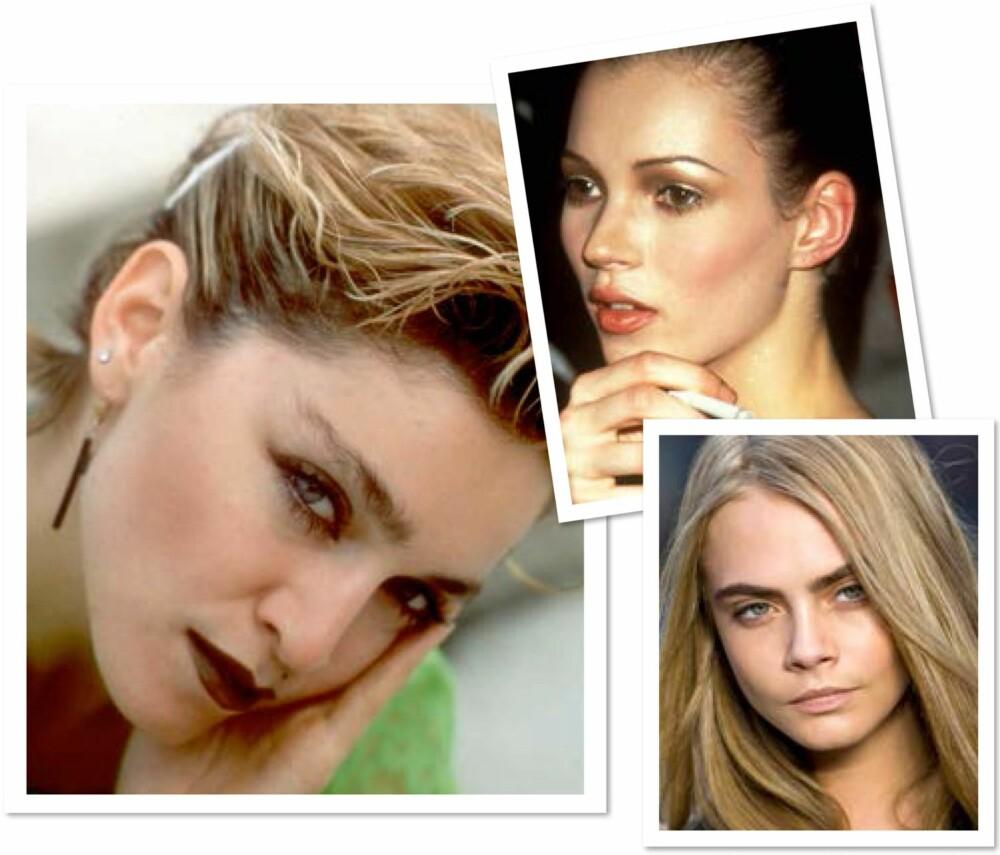 BRYN GJENNOM TIDENE: Til venstre: Madonna (1980-årene). Øverst til høyre: Kate Moss (1990-årene). Nederst til høyre: Cara Delevingne (2000-årene).