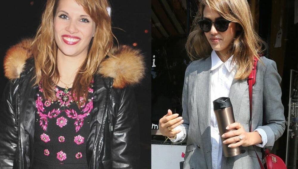 NEI OG JA: Nå er det her igjen - januarsalget. Vi har spurt ekspertene hva du bør shoppe - og hva du bør droppe. Til venstre: Styr unna plagg med påsydd strass som denne kjolen sett på Pips Taylor. Til høyre: Gå for basisplagg som en hvit skjorte og en herreinspirert blazer à la Jessica Alba.