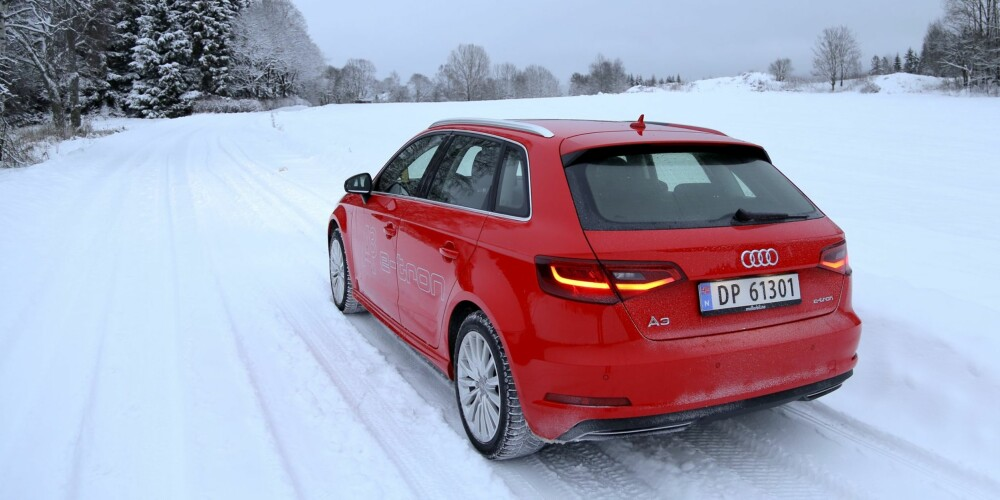 RASK: Audi A3 Sportback e-tron har 204 hk, men du betaler bare for 125 av dem. Den bruker lite bensin om du lader ofte. FOTO: Terje Bjørnsen