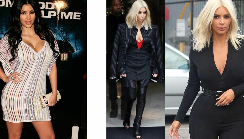 FRA HARRY TIL HYLLET: Mye har skjedd med stilen til Kim Kardashian de siste årene. Til venstre: Fra 2006. Til høyre: Under Paris Fashion Week tidligere denne måneden.