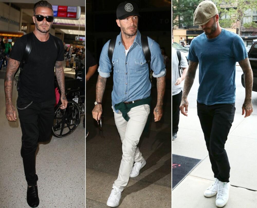CASUAL COOL: Hverdagsstilen til David Beckham er ganske avslappet. Han går ofte i jeans, T-skjorter og denimskjorter - hodeplagg er også en favoritt.