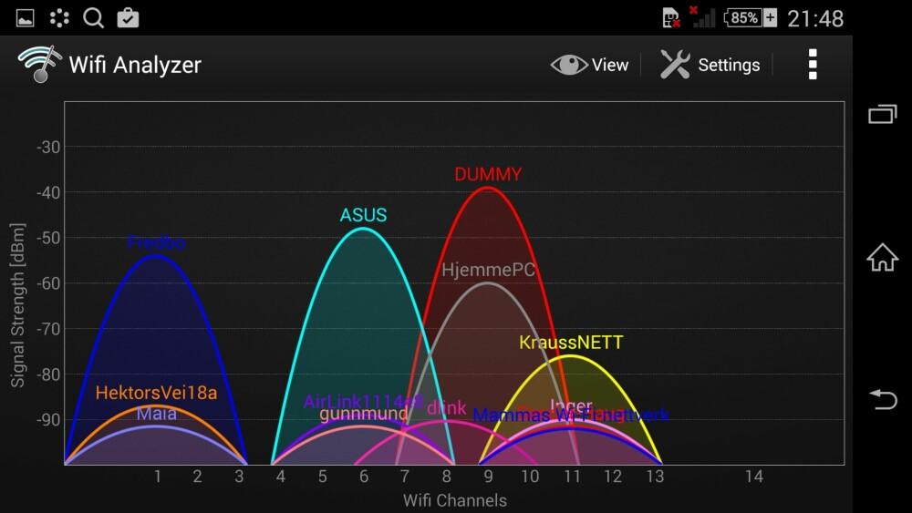 ENKELT: En rask og enkel analyse av de trådløse nettene rundt deg, avgjør hvilken kanal du bør velge for ditt trådløse nettverk.