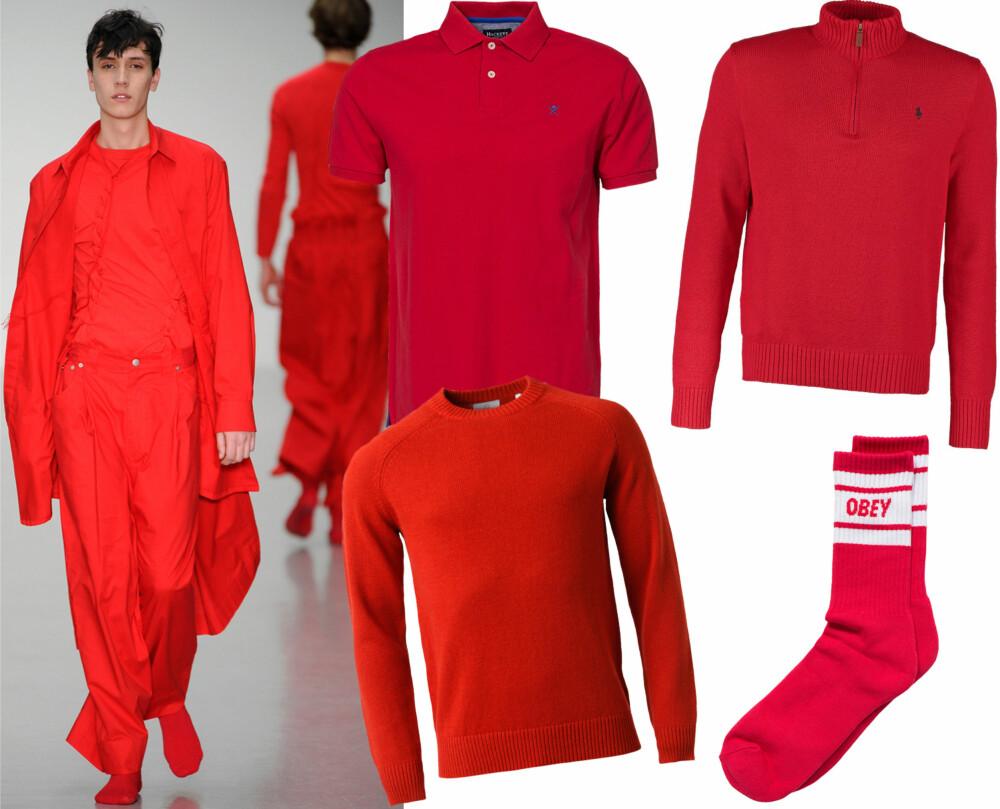 RØDT, RØDT, RØDT: Craig Green kledde modellene opp i rødt fra topp til tå. Piquéskjorte fra Hackett, kr 899. Genser fra MQ, kr 799. Genser med høy hals og glidelås fra Polo, kr 1195. Sokker fra Obey, kr 99.