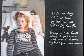 URØRLIG: Sjetteklassingen Elisabeth er på sykehuset og kan ikke røre seg. Men det er en lykke å komme vekk fra omverdenen, skriver hun i fotoalbumet sitt.
