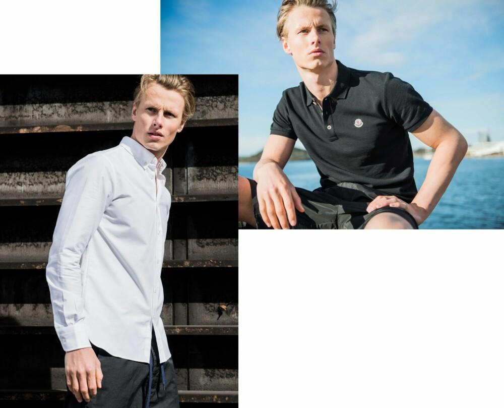 BLACK AND WHITE: <b>T.v.</b> Skjorte fra Maison Kitsuné, kr 1899. Bukser fra Covert. kr 1699. <b>T.h.</b> Svart pique fra Moncler, kr 1299. Shorts fra T by Alexander Wang, kr 2999.
