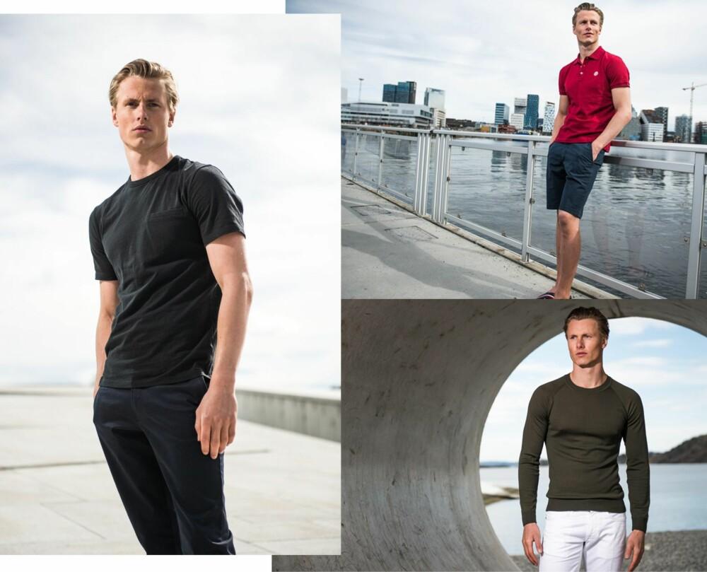 SPORTY HVERDAGSLOOK: <b>T.v.</b> T-skjorte fra T by Alexander Wang, kr 1199. Dressbukser fra Sand, kr 1399. <b>Ø.t.v.</b> Pique fra Moncler, kr 2299. Shorts fra NN07, kr 799. <b>N.t.v.</b> Genser fra Tiger of Sweden, kr 999. Bukser fra Incotex, kr 2299.