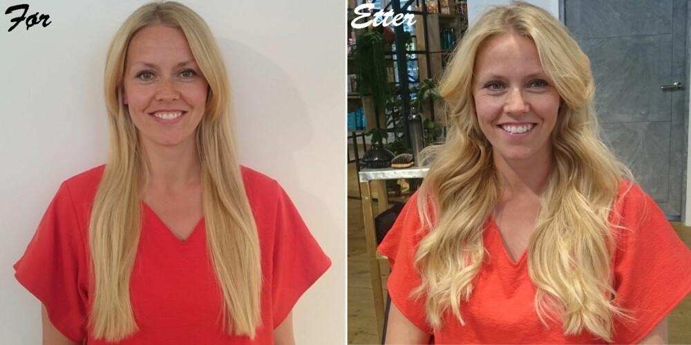 FØR OG ETTER: Modell Lene har fått naturlige og fine krøller i håret ved hjelp av rettetang.