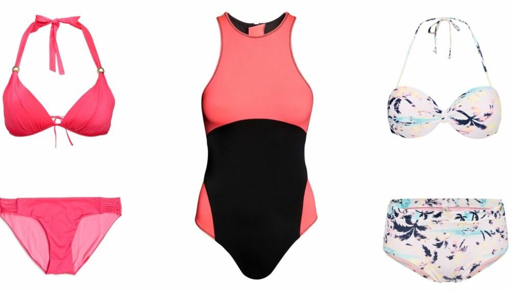 BADETØYMOTE 2015 (f.v.): Fargesterkt, rosa bikini fra Lindex, kr 149 for overdel og kr 129 for underdel. Sporty badedrakt fra H&M, kr 249. Tropisk bikini med palmer fra KappAhl, kr 199 for overdel og kr 129 for underdel.