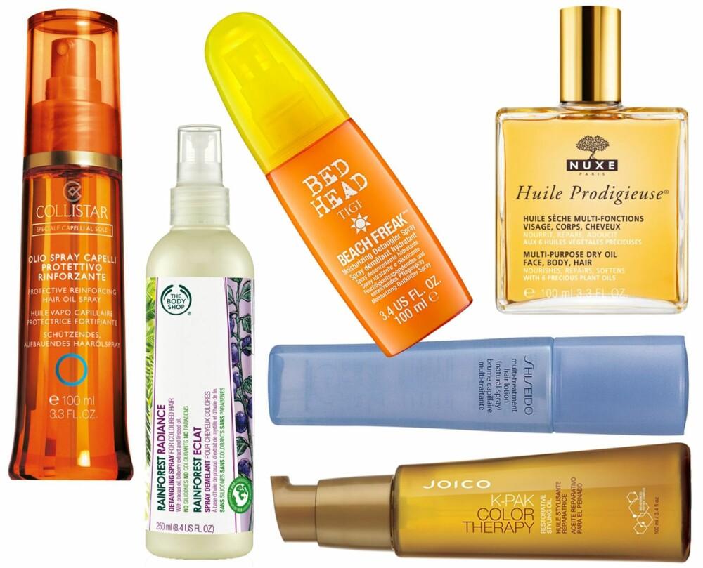 GODE BESKYTTELSESPRODUKTER (f.v.): Collistar Protective Reinforcing Hair Oil Spray, kr 159. The Body Shop Rainforest Radiance Detangling Spray med UV-filter, kr 149. Tigi Bed Head Beack Freak Spray, kr 254. Nuxe Huile Prodigieuse, kr 310. Shiseido Multi-Treatment Hair Lotion (Natural Spray) med UV-beskyttelse, kr 286. K-Pak Color Therapy Restorative Styling Oil, kr 299.