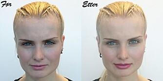 FØR OG ETTER: Man ser en tydelig forskjell på størrelsen på overleppen før og etter at makeupartisten har sminket leppene større.