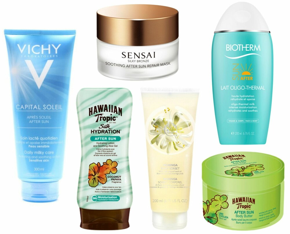 AFTER SUN (f.v.): Vichy Capital Soleil Aftersun-lotion, kr 229. Sensai Silky Bronze Soothing After Sun Repair Mask, kr 855. Biotherm Oligo Thermal Milk 200 ml, kr 230. Hawaiian Tropic After Sun Silk Hydration, kr 119. The Body Shop Moringa Body Sorbet, kr 149. Hawaiian Tropic Lime Coolada Body Butter, kr 129.