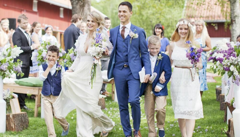 LYKKELIG GIFT: Renate og Marius giftet seg på Geiteberg kulturbruk, Tomter.