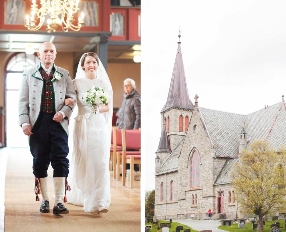 BRYLLUPET: Brudens far, Viktor, følger bruden opp kirkegulvet i Romsdals herrebunad. Vielsen fant sted i Melhus kirke.