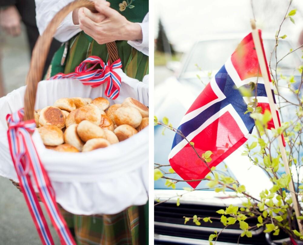 BOLLER OG FEST: Tante Unni og venninne Ina stilte med nybakte boller som gjestene fikk på kirketrappa etter vielsen. Bryllupsbilen var pyntet med bjørkeris og norske flagg.