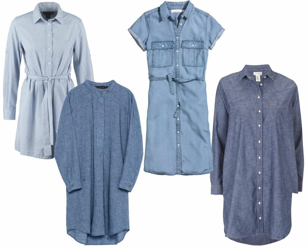 SKJORTEKJOLER I DENIM (f.v.): Gant kjole Hamptons/Zalando,kr 1195. Zara skjortekjole, kr 399. H&M skjortekjole i lycocell, kr 349. Levis skjortekjole LS Western/Ellos, kr 949.