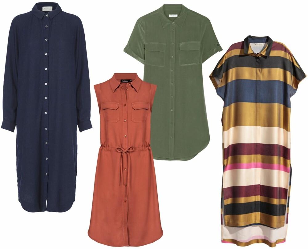 FARGERIKE SKJORTEKJOLER (f.v.): Ganni safari dress, kr 1899. Kappahl skjortekjole, kr 399. Equipment Slim Signature washed-silk mini dress/Net-a-Porter, kr 3852. H&M stripet skjortekjole, kr 599.