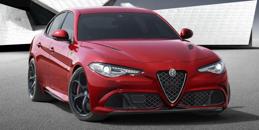 BØLLE: Først ut av Giulia-modellene er QV-versjonen med 510 hester. Foto: Alfa Romeo