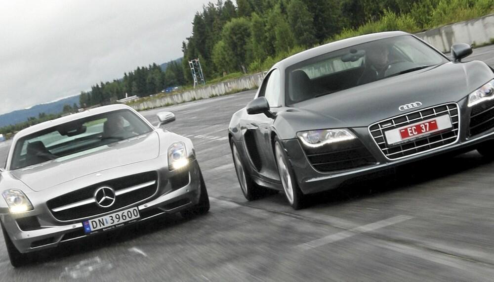ÅRETS RÅESTE: Audi R8 V10 og Mercedes SLS på en og samme dag - definitivt årets beste arbeidsdag.