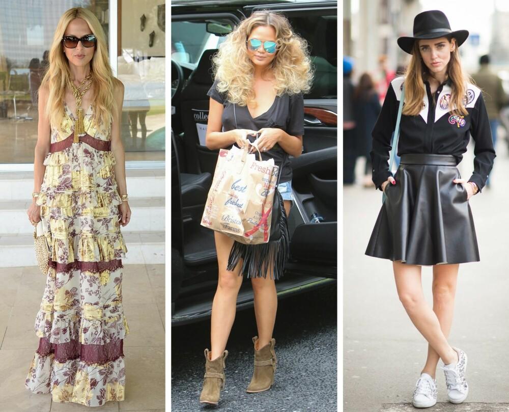 IKKE PAKK BORT DETTE: Stylist og moteblogger Marianne Jemtegård mener at sommerlige plagg og tilbehør som lange kjoler i florlette materialer, frynseveske, semskede boots og filthatt er ting som passer perfekt også i høstgarderoben.
