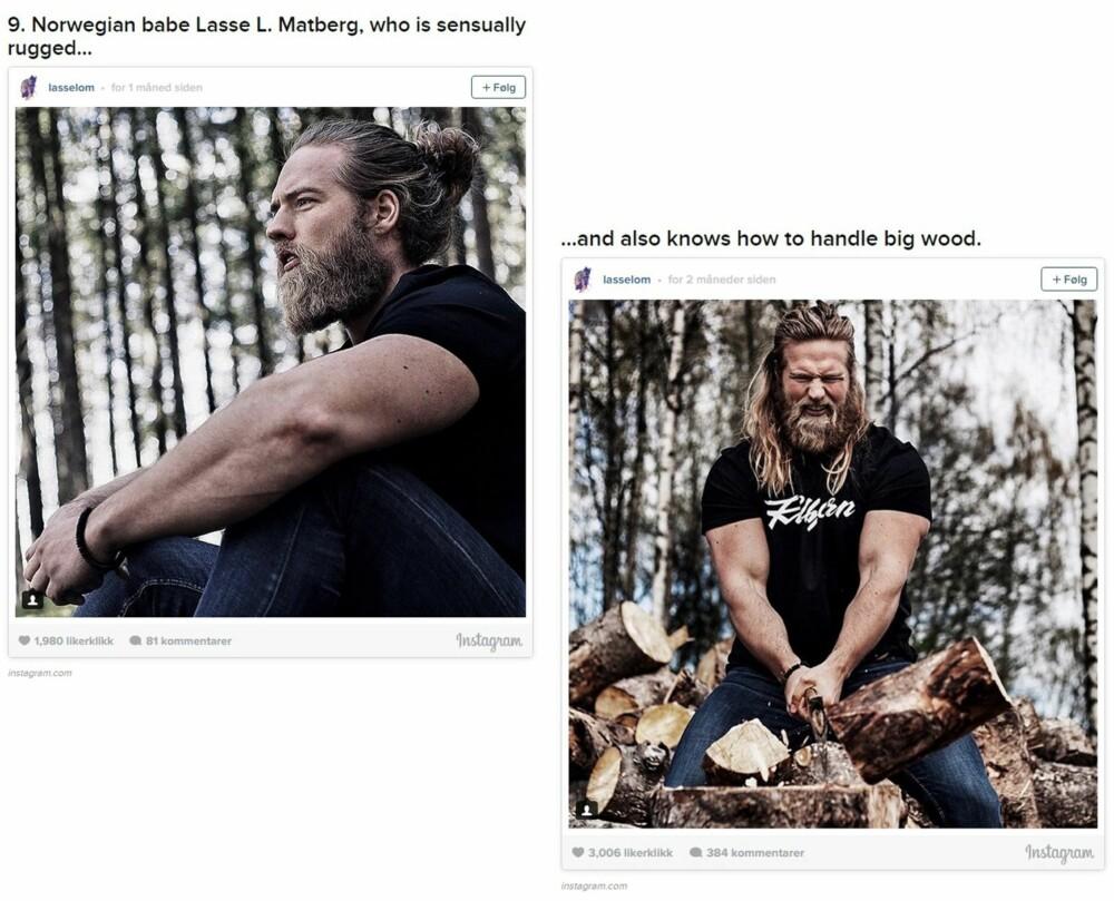"""SKJEGG OG MAN BUN: Bildene Buzzfeed brukte av Lasse fra hans Instagram-konto @lasselom i bildeserien med """"23 Beard And Man Bun Combinations That Will Awaken YouSexually."""""""
