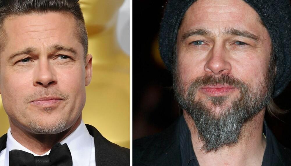 VELG RIKTIG SKJEGGTYPE: Brad Pitt har hatt utallige skjeggvarianter, og her er to eksempler. På bildet til venstre får han et bredere og mer maskulint ansikt, fordi skjegget er kort og trimmet. På bildet til høyre gjør flippskjegget at han får et smalere og lengre ansikt, fordi skjegget er med på å dra fjeset nedover. Sistnevnte er ikke en favoritt blant ekspertene.