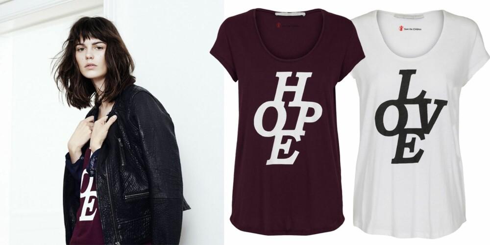 LIVE, LOVE, HOPE: Det danske merket Costummade har designet t-skjorter i samarbeid med Redd barna. T-skjorten koster kr 499, og forhandles i mer enn 100 butikker i Norge, Danmark og Sverige.