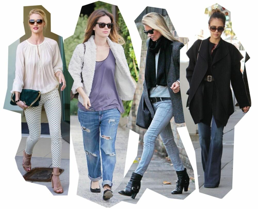 KJENDIS-INSPO: Rosie Huntongton-Whiteley har valgt bukse med print, Rachel Bilson har tatt buksa til typen, Kate Moss går for skinnyvarianten og Jessica Biel slenger avgårde.